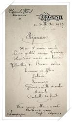 Menu du Central Hôtel en date du 30 juillet 1927