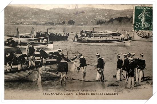 Débarquement sur le plage de Juan les Pins