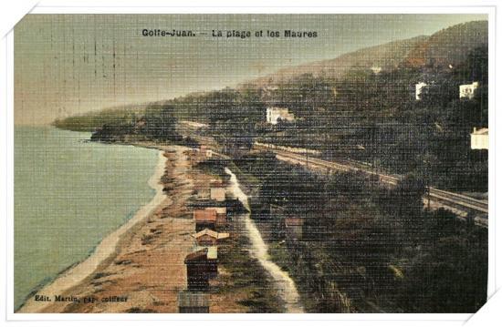 Rare, une vue colorisée prise depuis l'ancien phare en direction cette fois de Cannes