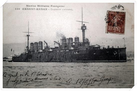 Le croiseur cuirassé ERNEST-RENAN avec l'usine GAZIGNAIRE en arrière plan