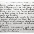 Crash d'un biplan Curstiss en 1912 - article du journal