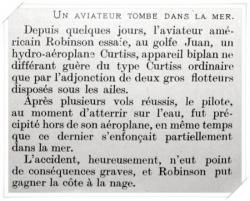 Crash d'un biplan Curstiss en 1912 - article du journal