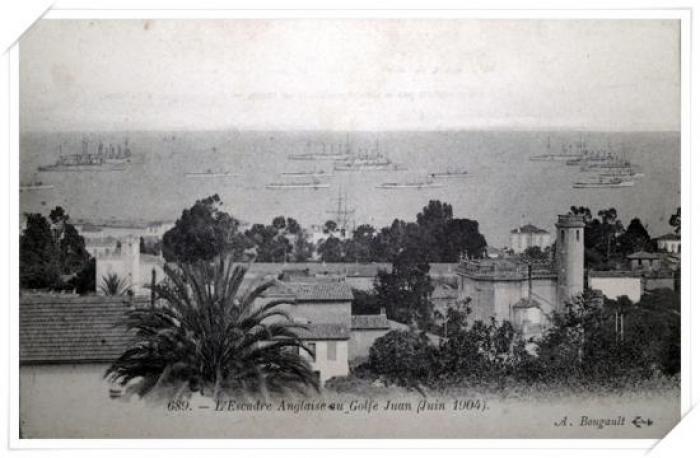 L'Escadre Anglaise en juin 1904 avec la villa Bellevue au 1er plan